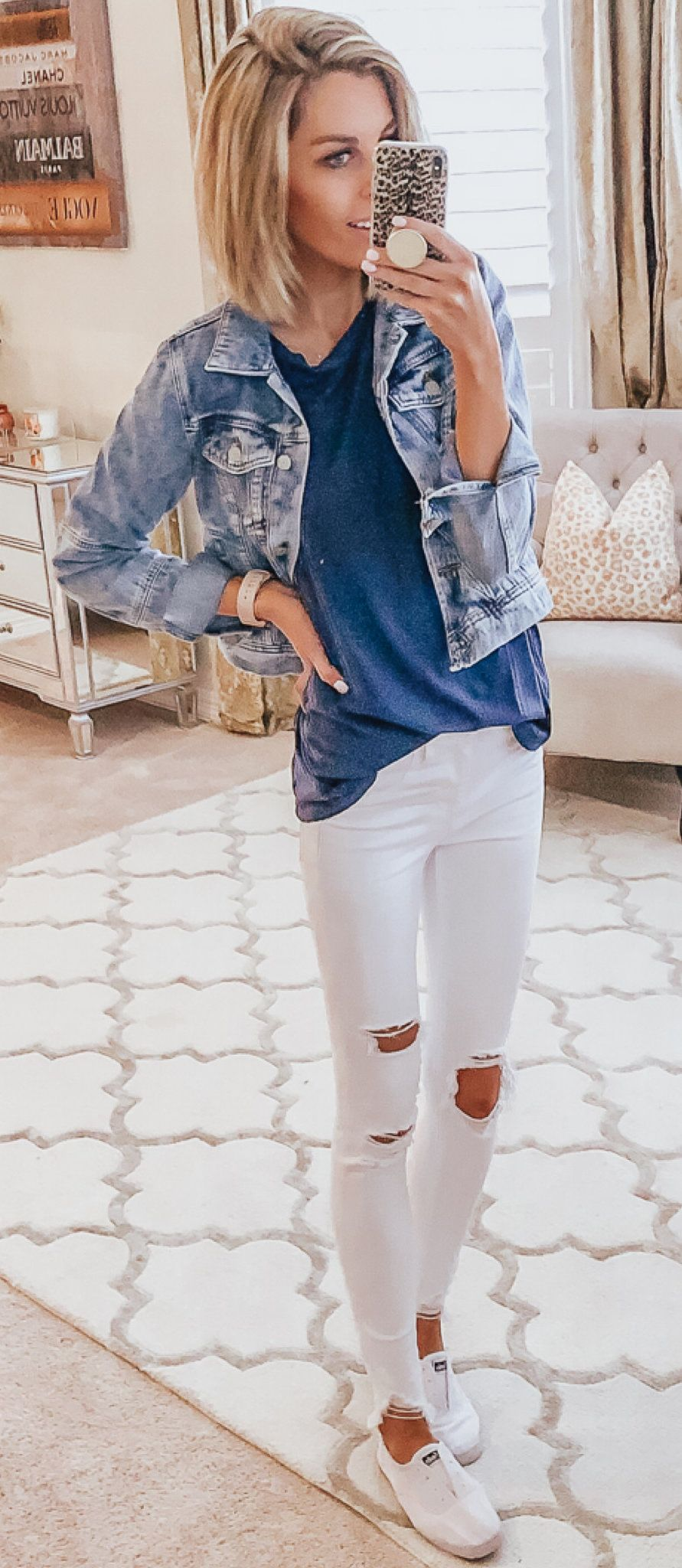 blue denim button-up jacket #spring #outfits