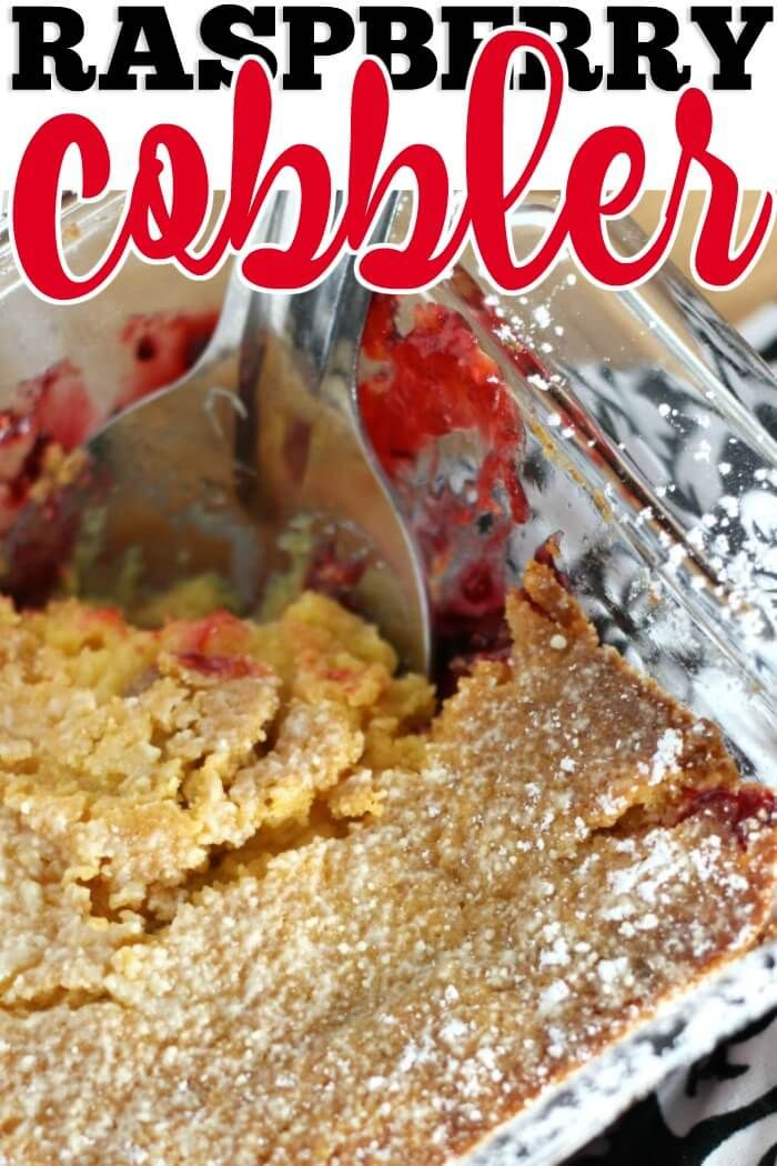 RASPBERRY COBBLER - Raspberry Cobbler is made with only three ingredients and tastes amazing.  It's the perfect easy dessert recipe for date night, or Wednesday night!