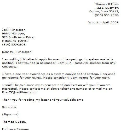 Sas Analyst Cover Letter Cvresumeunicloudpl