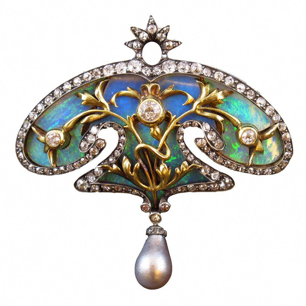 """Art Nouveau Pearl Opal Diamond Brooch. An exquisite Art Nouveau opal, old-cut diamond and natural grey pearl brooch. In silver topped yellow gold, of cartouche design. France, circa 1900. <a class=""""pintag"""" href=""""/explore/diamondbrooches/"""" title=""""#diamondbrooches explore Pinterest"""">#diamondbrooches</a><p><a href=""""http://www.homeinteriordesign.org/2018/02/short-guide-to-interior-decoration.html"""">Short guide to interior decoration</a></p>"""