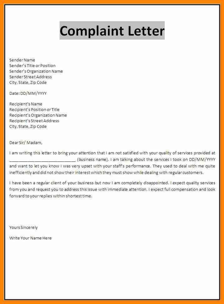 Proper Complaint Letter Format A Letter Of Complaint Example - business complaint letter format