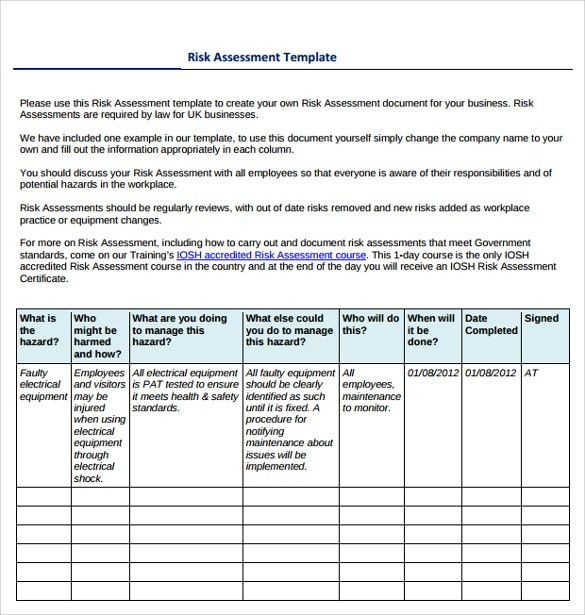 Risk Assessment Template Risk Assessment Template Free Word - health risk assessment template