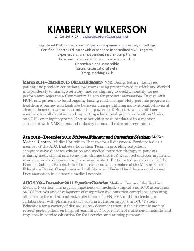 nutritionist resume