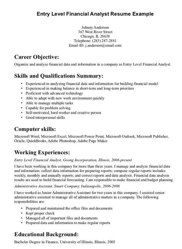 entry level financial analyst resume entry level marketing resume