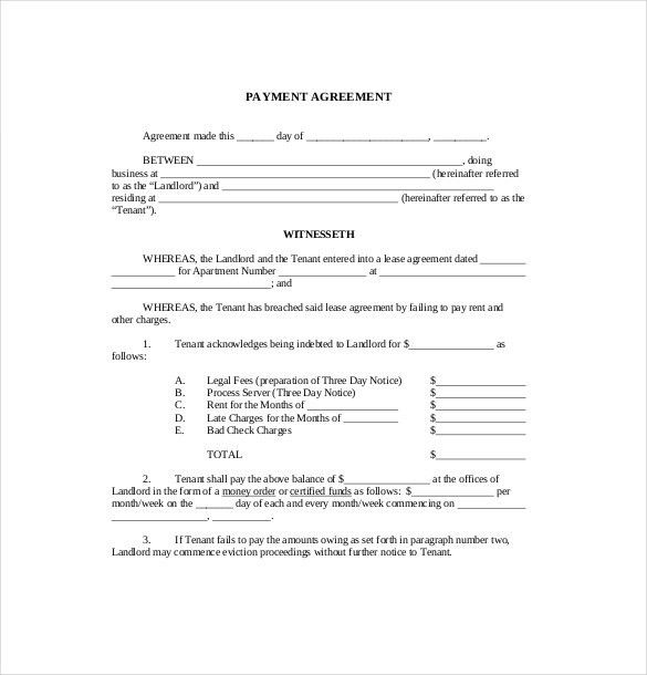 Payment Agreement Template 9 Payment Agreement Templates Free - agreement templates