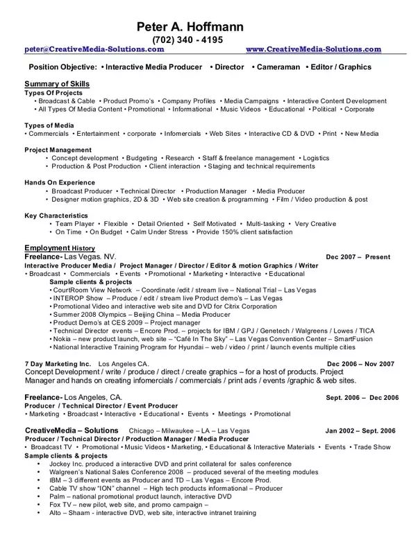 Television Producer Resume Tv Free Samples Blue Sky