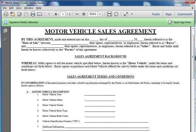 car buying contract