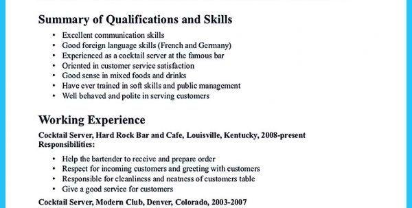bartender skills for resumes