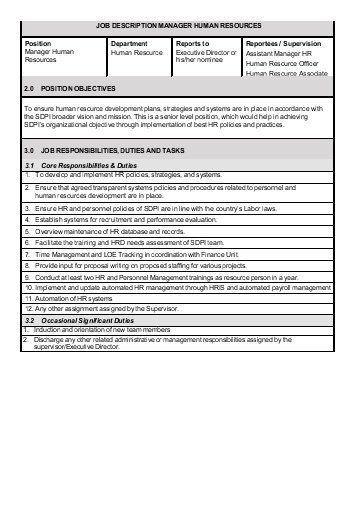 personnel management job description job description and job maintenance director job description