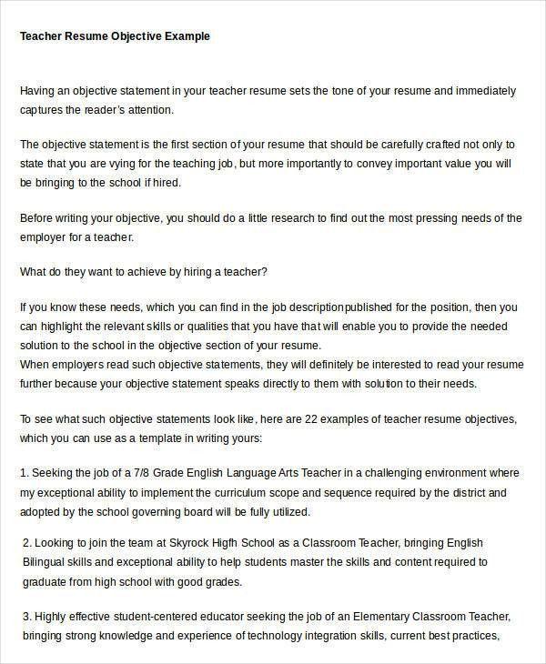 Teacher Resume Objective Sample Best 10 Career Objectives For - resume objective section
