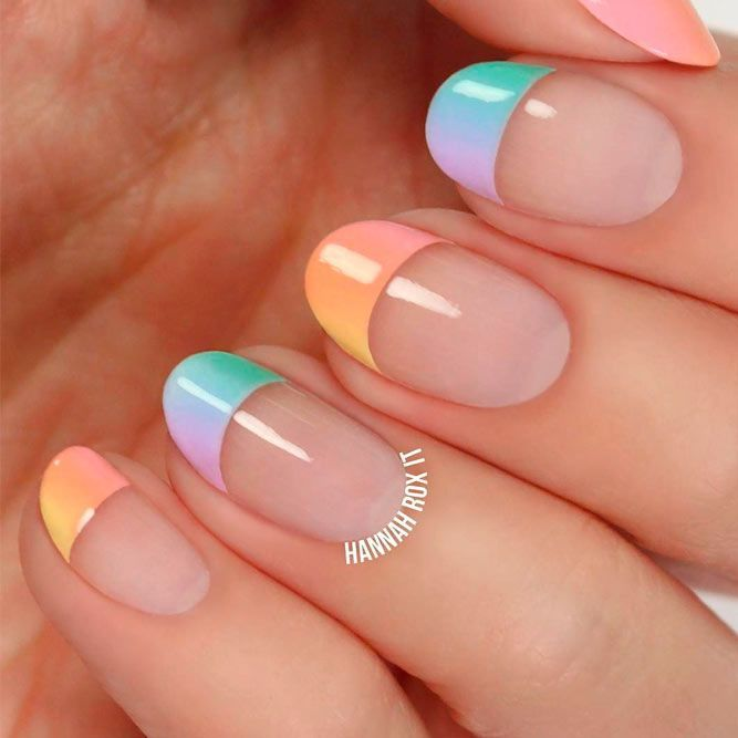 Colorful Gradient Nails Tips #colorfulnails #ombrenails ★ Unique and classy French manicure for your elegant look! #glaminati #lifestyle #frenchmanicuredesigns