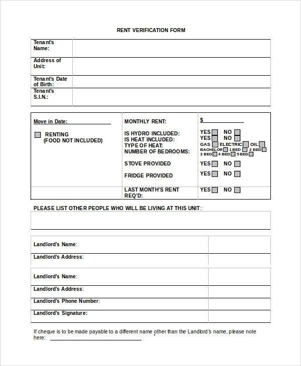 Landlord Verification Letter Sample Verification Of Tenant - landlord verification form