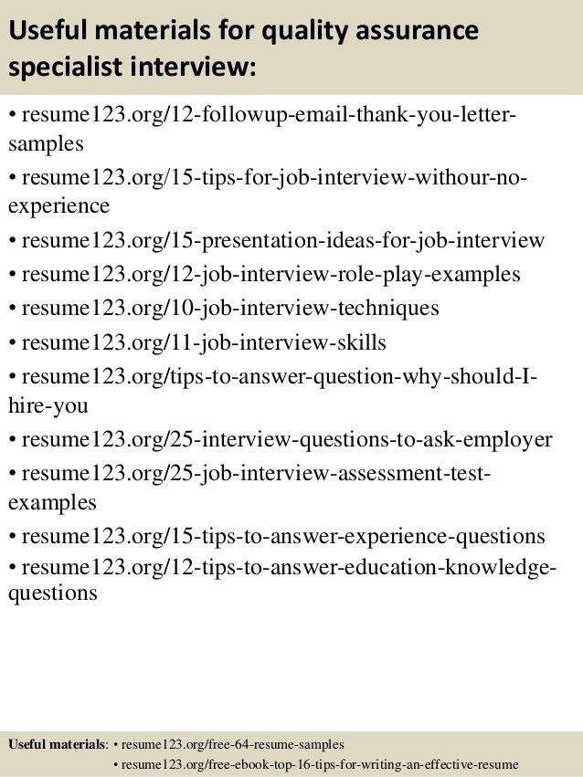 sample qa specialist resume