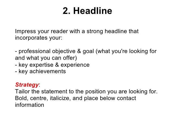 Professional Headline Examples Resume headline for a resume