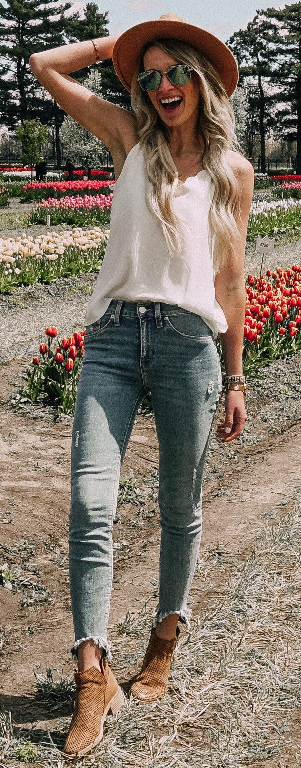 white sleeveless blouse and gray denim jeans #summer #outfits