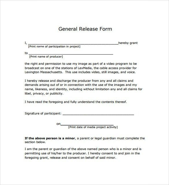 General Release Forms General Release Form 7 Free Samples - sample print release form example
