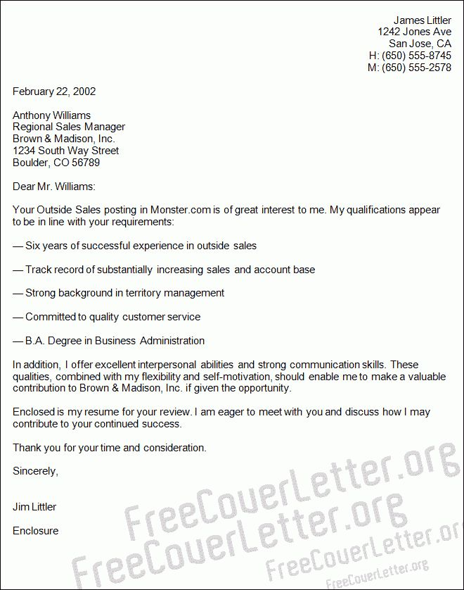 Outside Sales Cover Letter Sales Cover Letter Sample, Outside - sales cover letter template