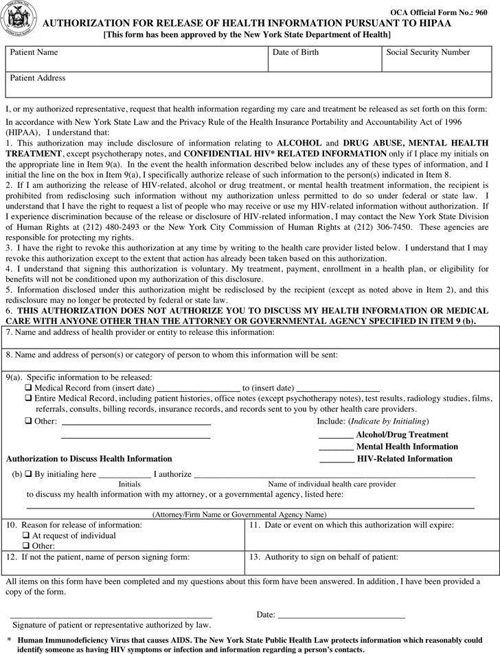 Medical Record Form Template Medical Records Release Form - medical information release form