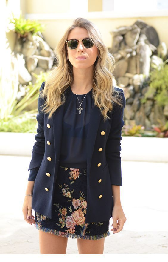Black top, blazer and floral skirt