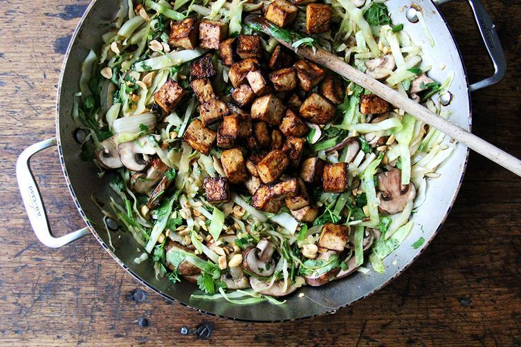 "Cabbage ""Pad Thai"" with Baked Tofu"