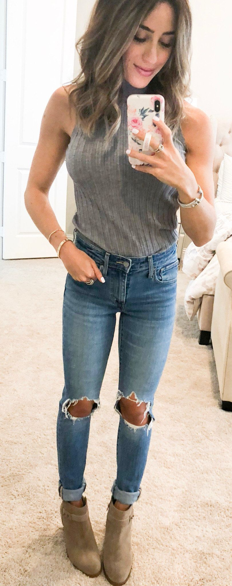 gray sleeveless top