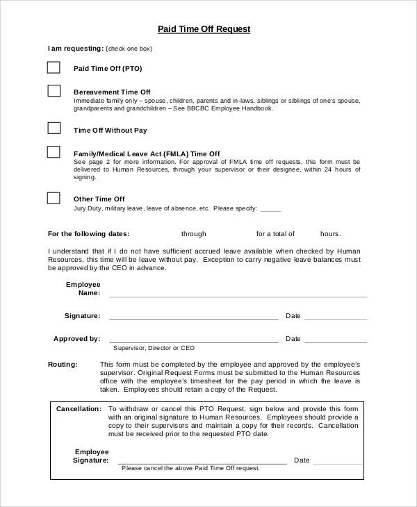 Application For Leave Form Application For Leave Form, Leave - request for time off form
