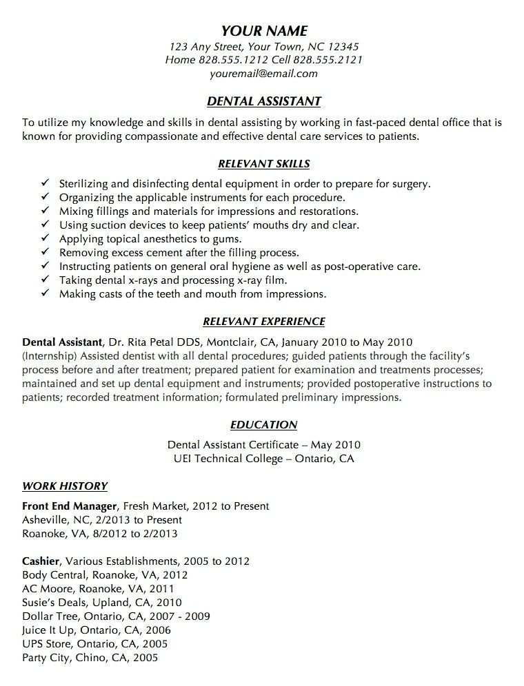 Dental Assistant Objective Examples Dental Assistant Resume - resume examples for dental assistant