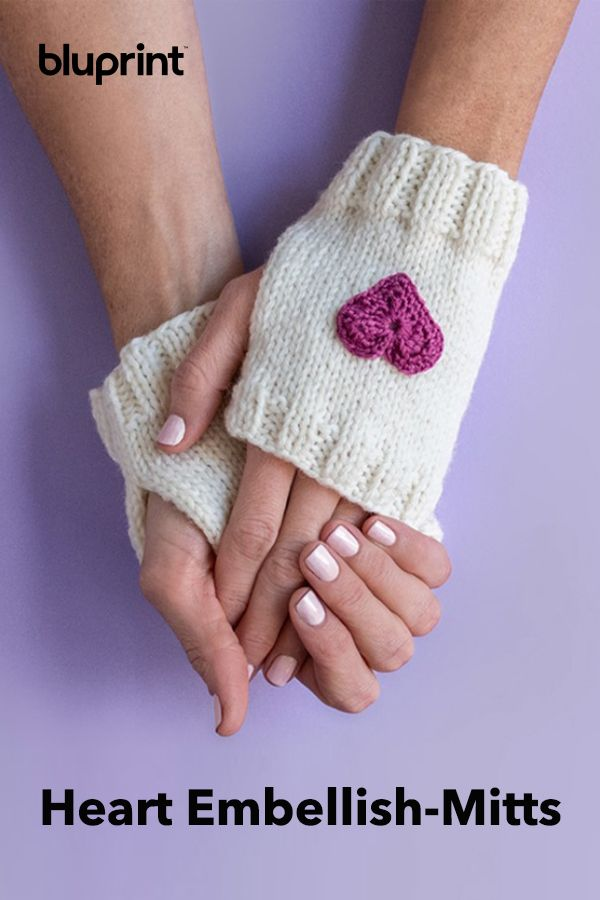 Knit Heart Embellish-Mitts