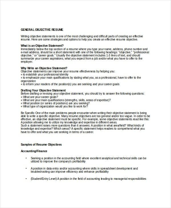 Objective In A Resume Examples How To Write A Career Objective On - example of objectives for resume