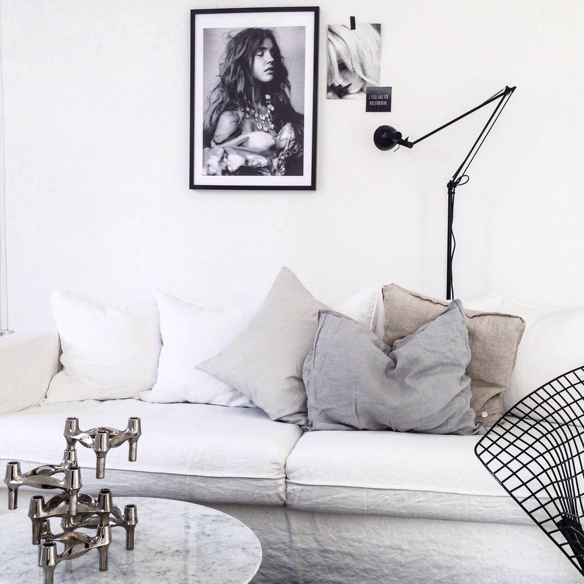 Linnesoffa och soffbord i marmor Interior inspiration Pinterest