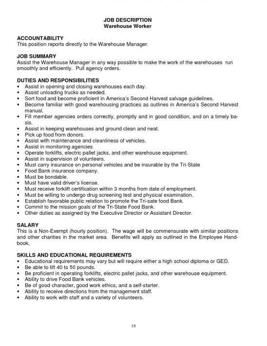 Warehouse Associate Job Description Warehouse Associate Job - warehouse job description resume