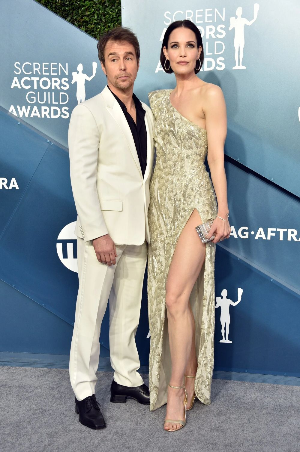 Judging by his Scarface suit, SAG winner Sam Rockwell already knew he was going to win.