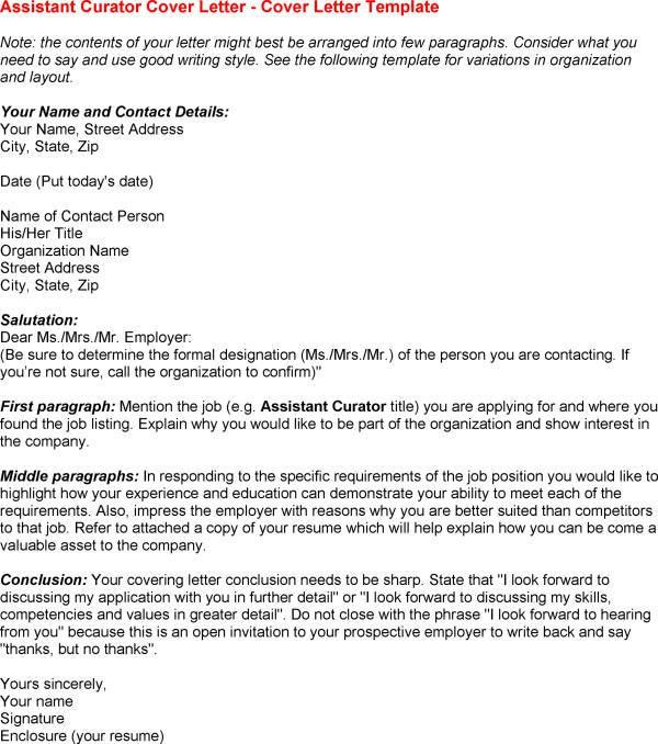 Assistant Curator Cover Letter Legal