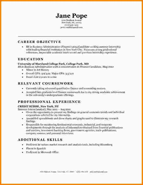 Resume Objective Examples Entry Level Examples of Resumes