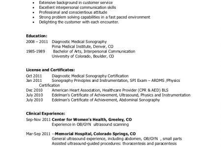 Ultrasound Resume Examples - Examples of Resumes
