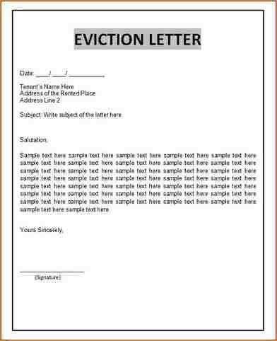 letter of eviction