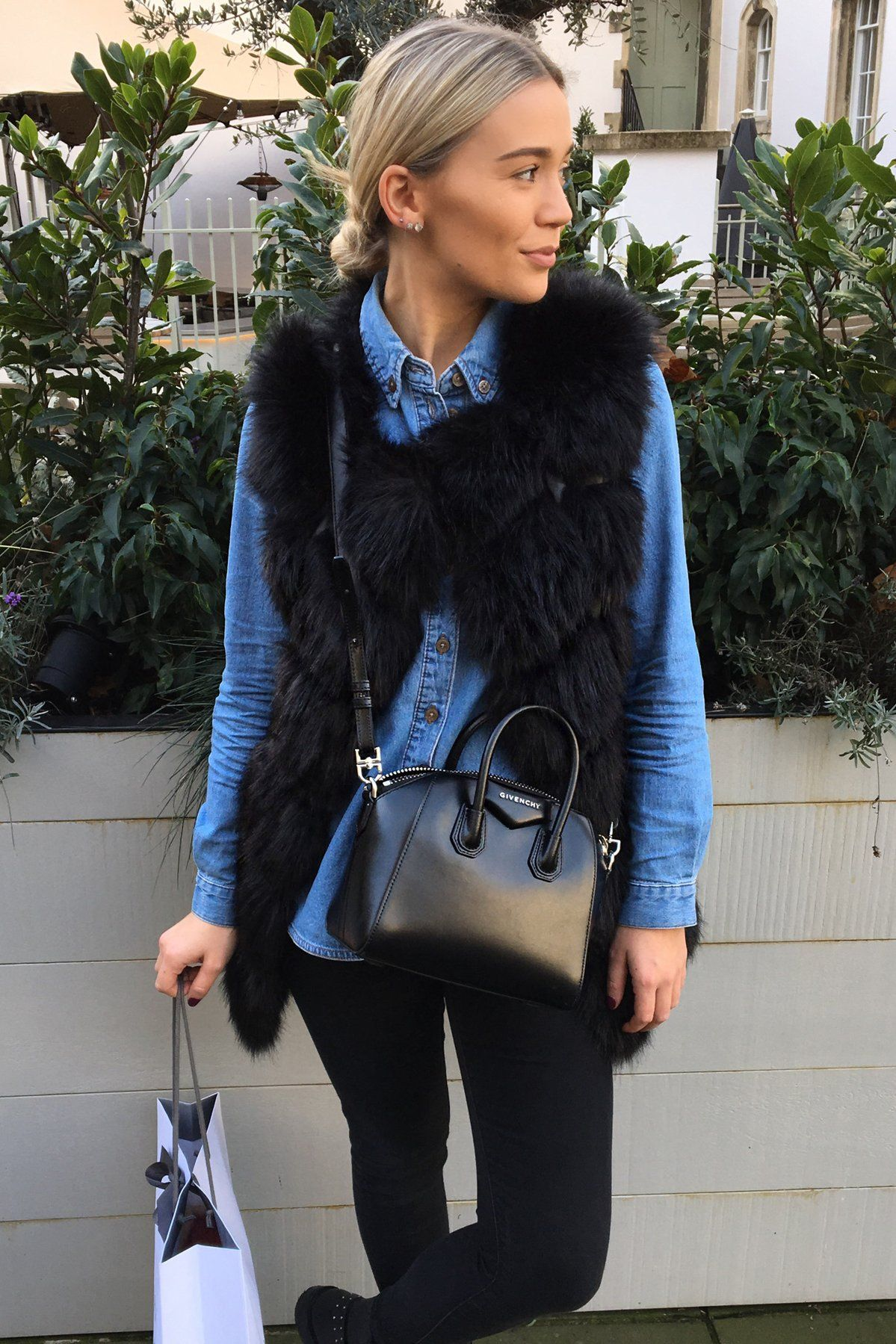 Hattie Bourn black faux fur gilet from styled in london with givenchy antigona bag and denim shirt