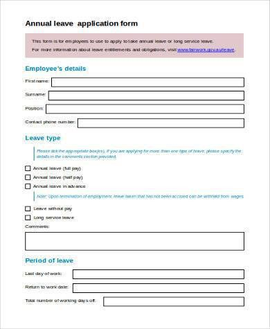 ... Annual Leave Application Form 8 Annual Leave Application Format   Leave  Application Forms ...  Annual Leave Application Form