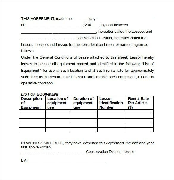 Product Rental Agreement Template 12 Equipment Rental Agreement - equipment lease agreement template