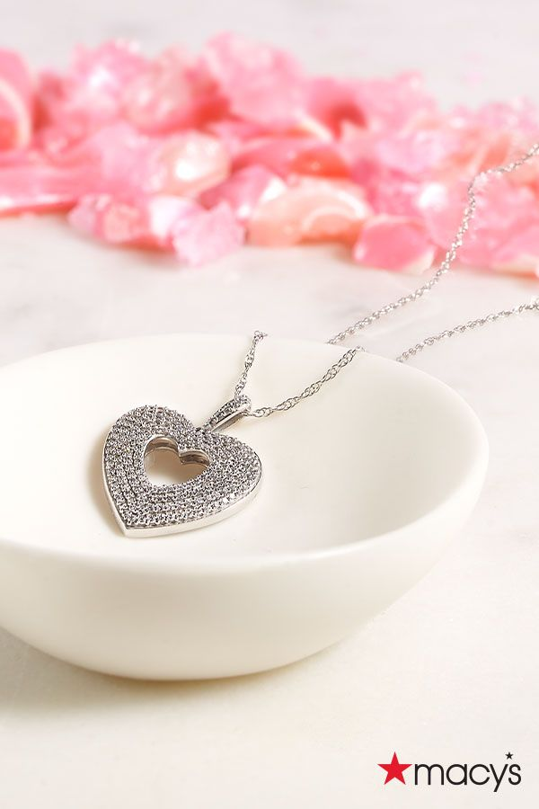 Layer on the love this Valentine's Day. This open heart diamond necklace from Macy's is a sweet treat they can keep for years to come. | Warm your heart and theirs with jewelry & gifts from macys.com