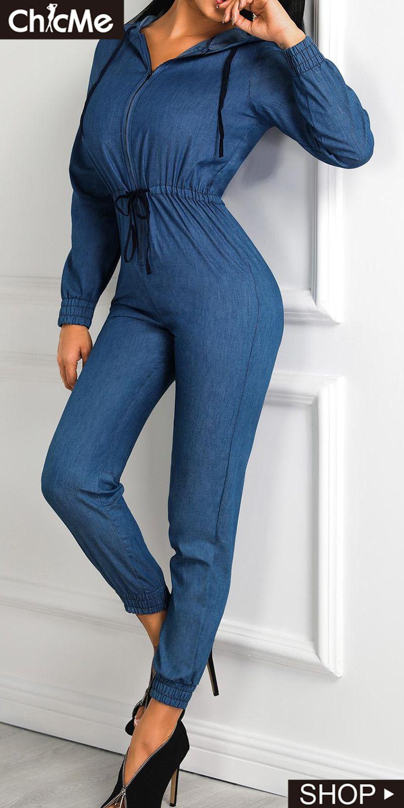 Denim Zipper Up Drawstring Long Sleeve Jumpsuit