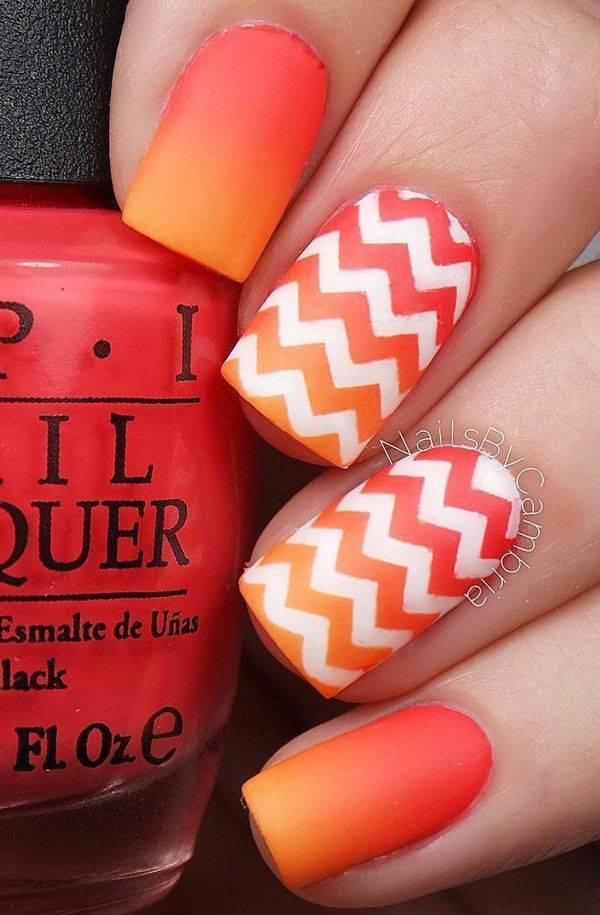 Here's a darker and lighter orange ombre that definitely perfect for the summer.