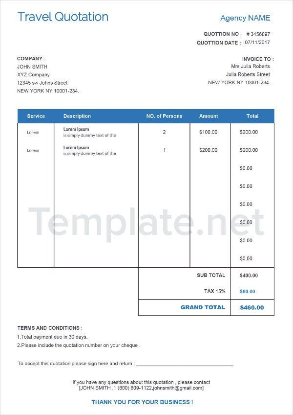 Simple Quotation Format Price Quotation Format Template Sample - travel quotation sample