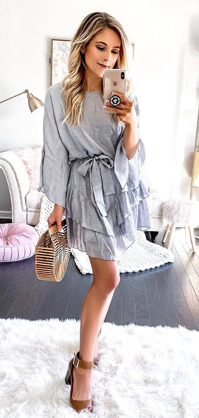 gray long-sleeved dress #spring #outfits