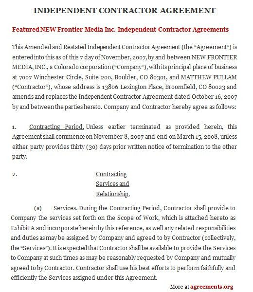 Example Of Agreement Between Two Parties Simple Contract Template - sample independent contractor agreement