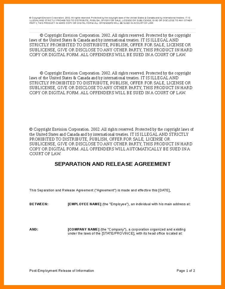 Employee Separation Form Template Separation Notice Template 13 - employment separation agreement