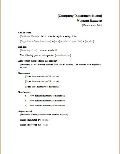 meeting minutes examples word