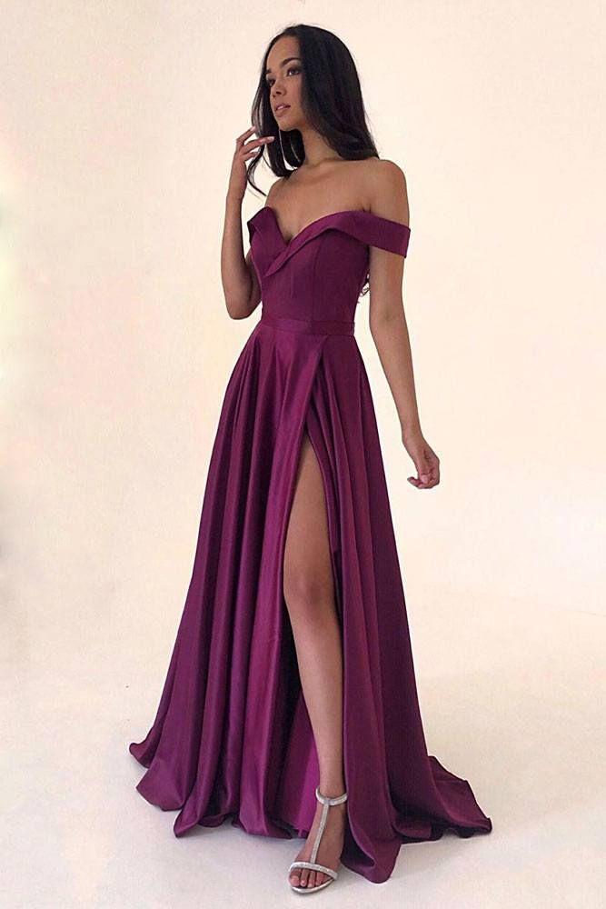 Shoulder-Off Burgundy Dress