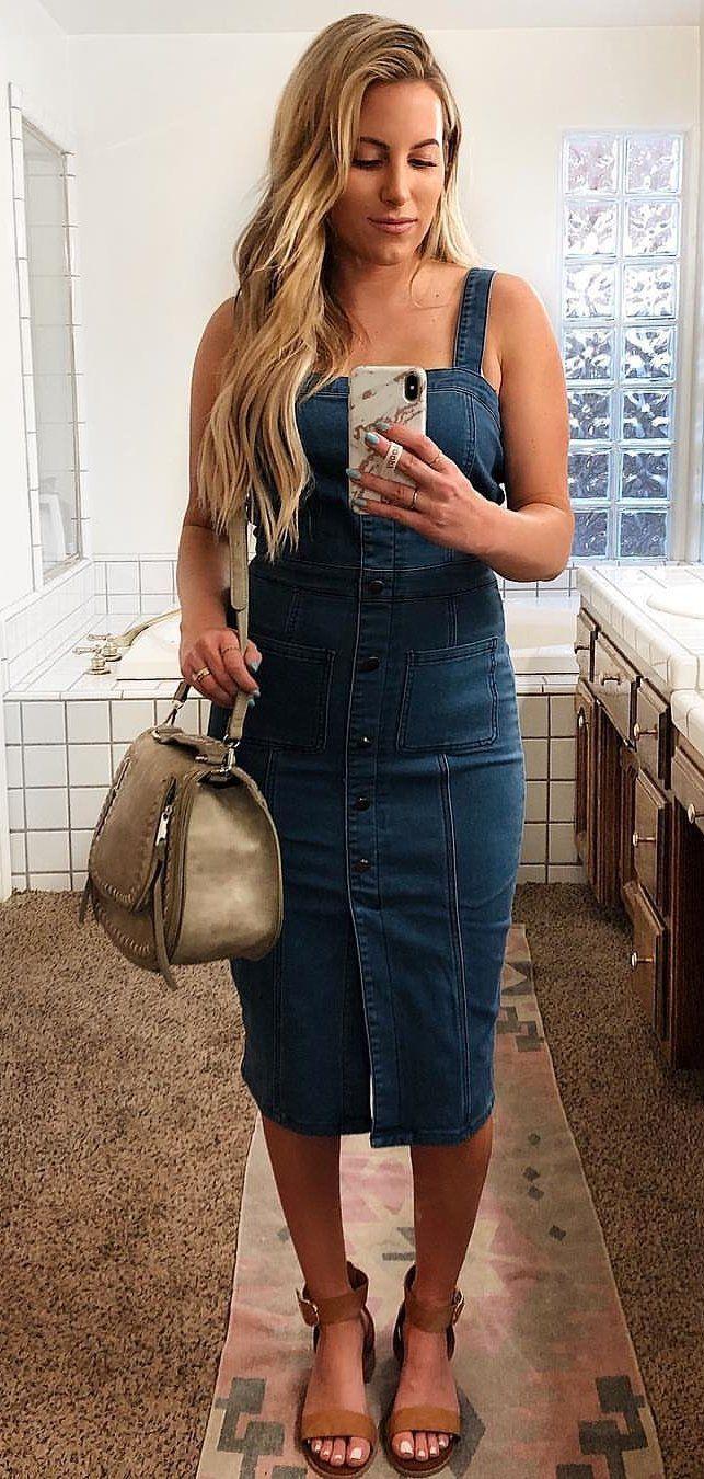 blue denim dress #spring #outfits