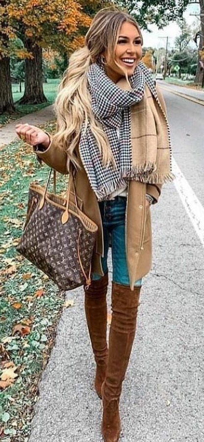 brown coat and gray scarf